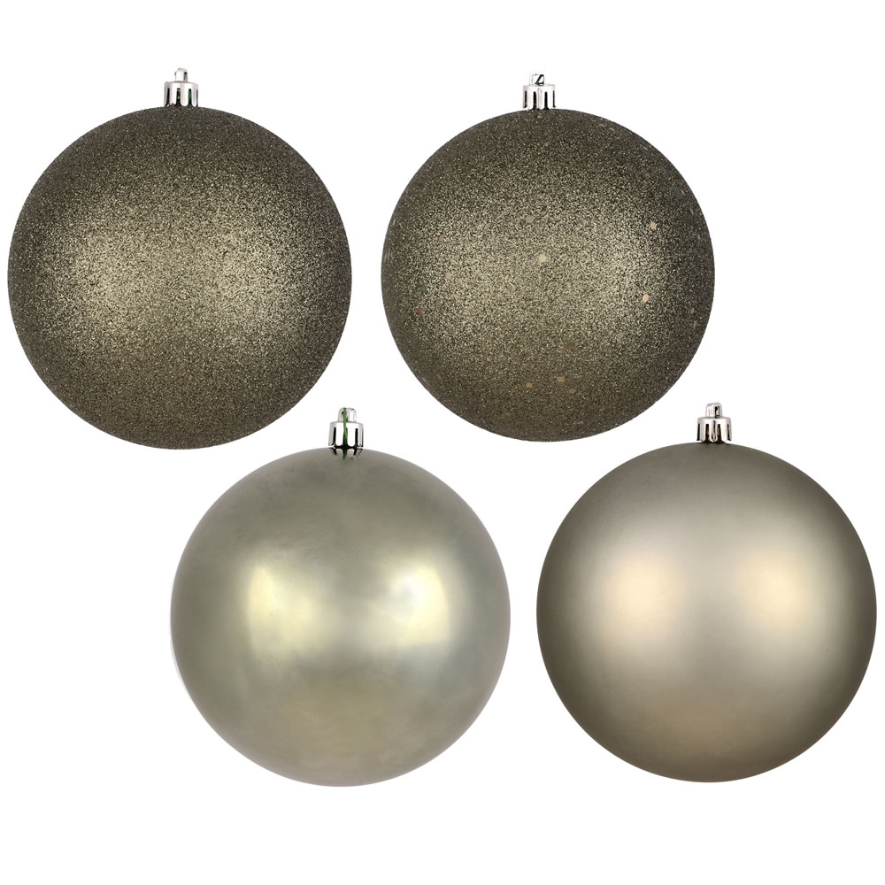 12 Inch Wrought Iron Round Christmas Ball Ornament Shatterproof Set of 4 Assorted Finishes