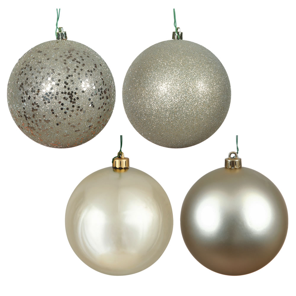12 Inch Champagne Round Christmas Ball Ornament Shatterproof Set of 4 Assorted Finishes