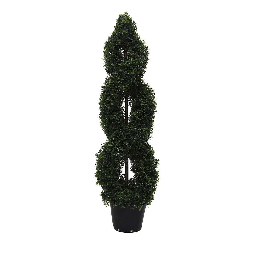 4 Foot Green Boxwood Double Spiral Topiary Artificial Potted Tree UV