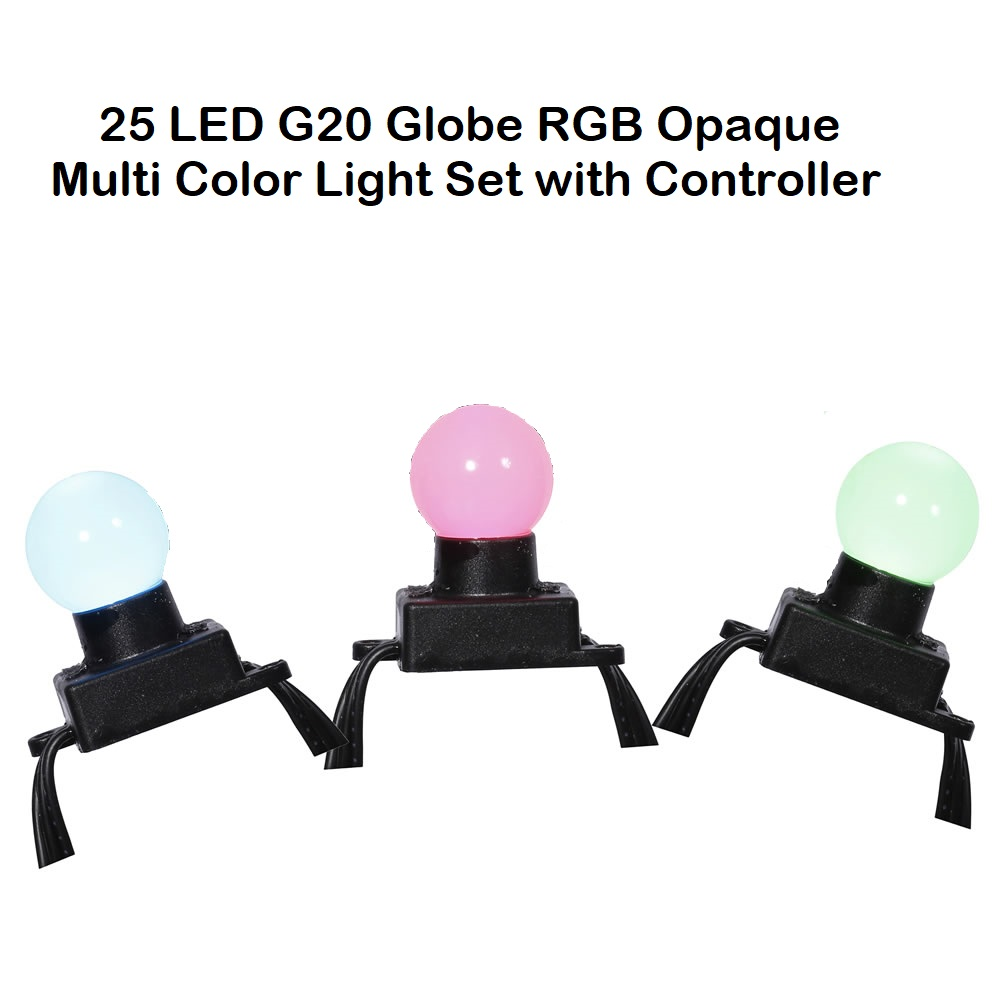 25 LED G20 Globe RGB Opaque Multi Color Light Set with Controller