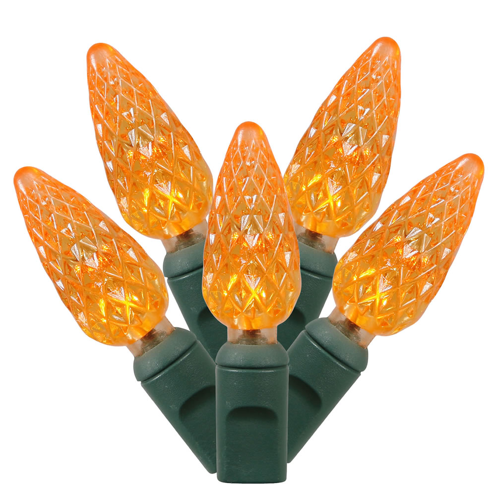 50 Commercial Grade LED C6 Strawberry Faceted Orange Halloween Light Set Green Wire