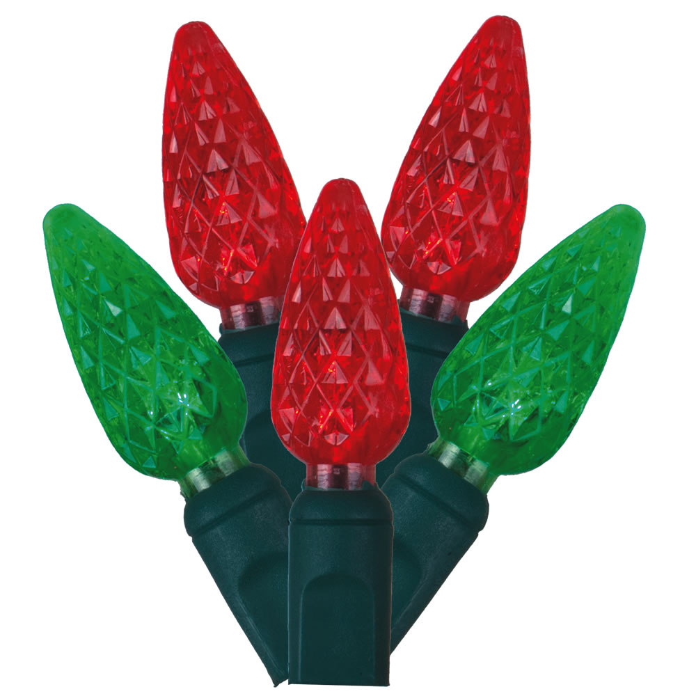 50 Commercial Grade LED C6 Strawberry Faceted Red and Green Christmas Light Set Green Wire