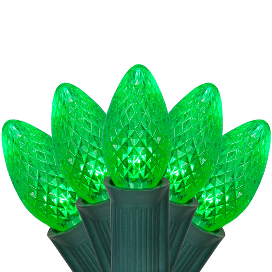 25 LED Commercial Grade C7 Night Light Green Faceted Reflector Christmas Light Set Green Wire