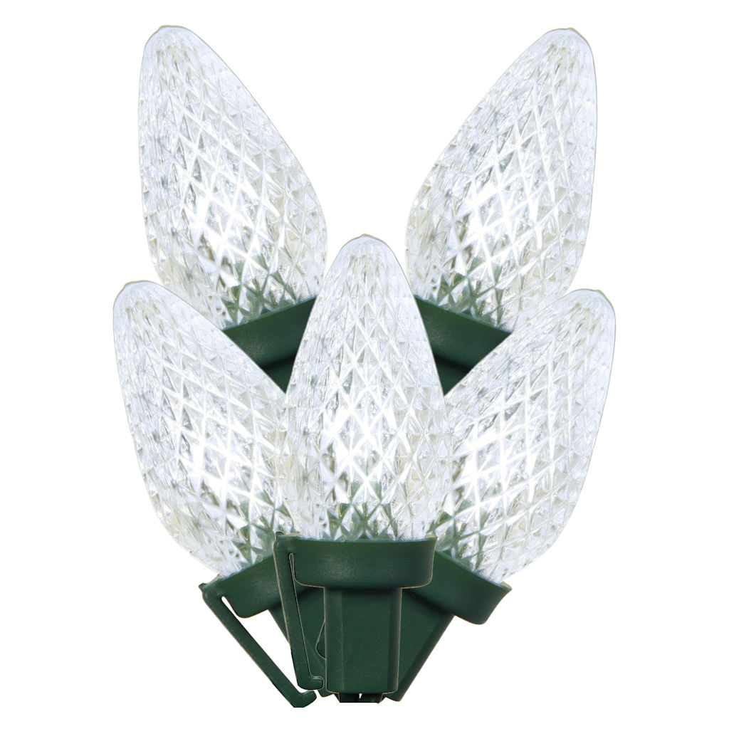 25 LED Commercial Grade C7 Night Light Pure White Faceted Reflector Christmas Light Set Green Wire