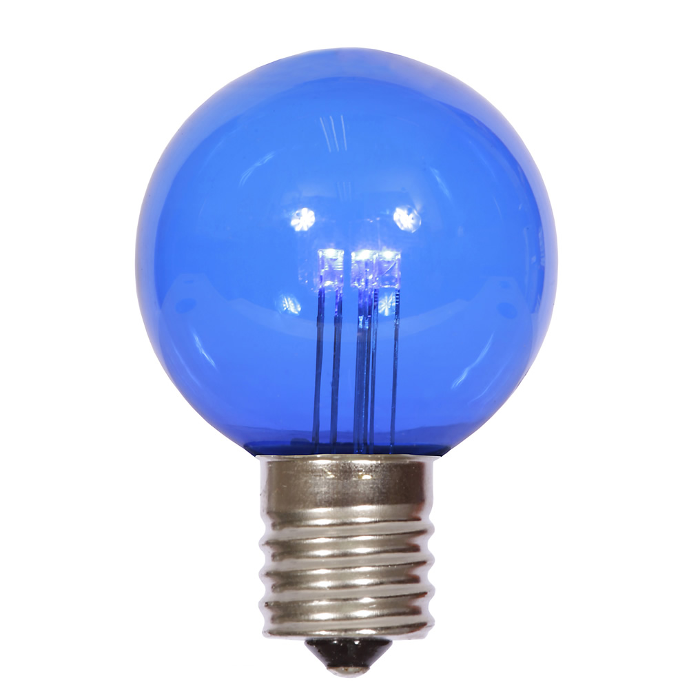 25 LED G50 Globe Blue Transparent Retrofit C9 E17 Socket Christmas Light Set Replacement Bulbs