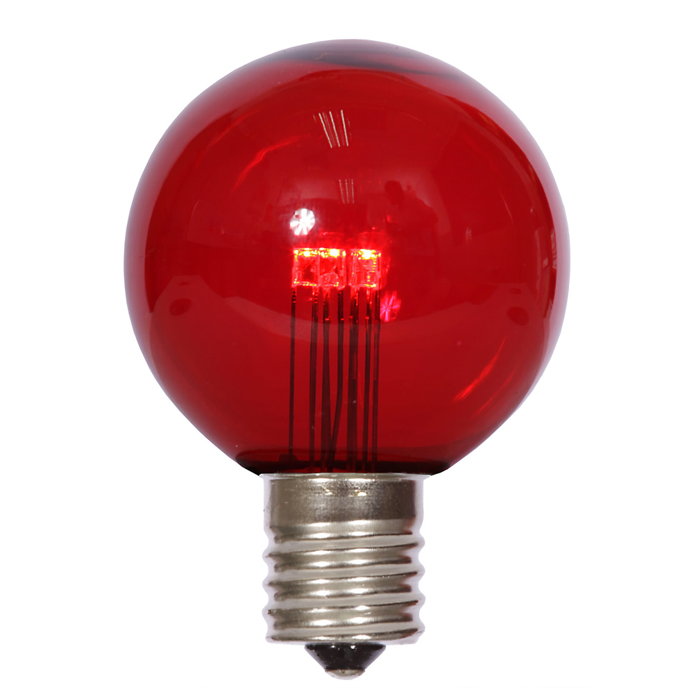25 LED G50 Globe Red Transparent Retrofit C9 E17 Socket Christmas Light Set Replacement Bulbs