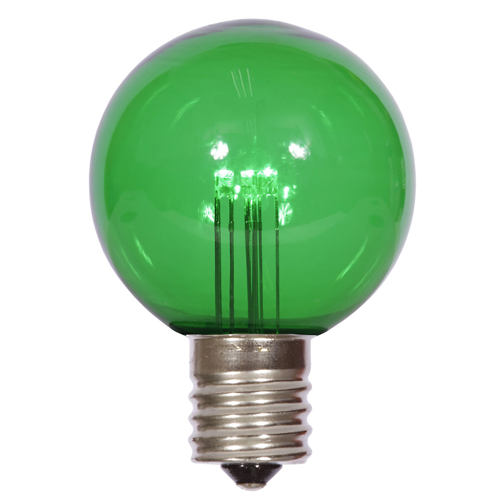 25 LED G50 Globe Green Transparent Retrofit C9 E17 Socket Christmas Light Set Replacement Bulbs