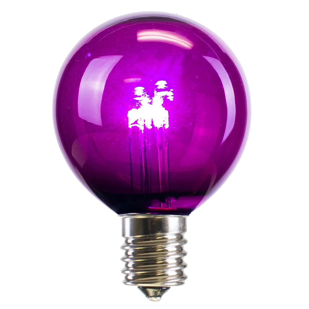 25 LED G50 Globe Purple Transparent Retrofit C9 E17 Socket Christmas Light Set Replacement Bulbs
