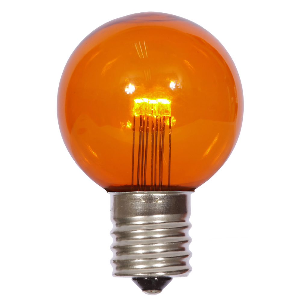 25 LED G50 Globe Amber Transparent Retrofit C9 E17 Socket Christmas Light Set Replacement Bulbs