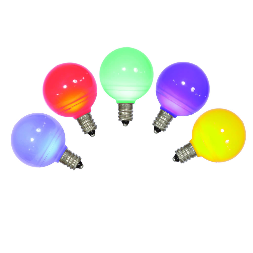 5 LED G40 Globe Multi Color Ceramic Retrofit C7 Socket Christmas Replacement Bulbs