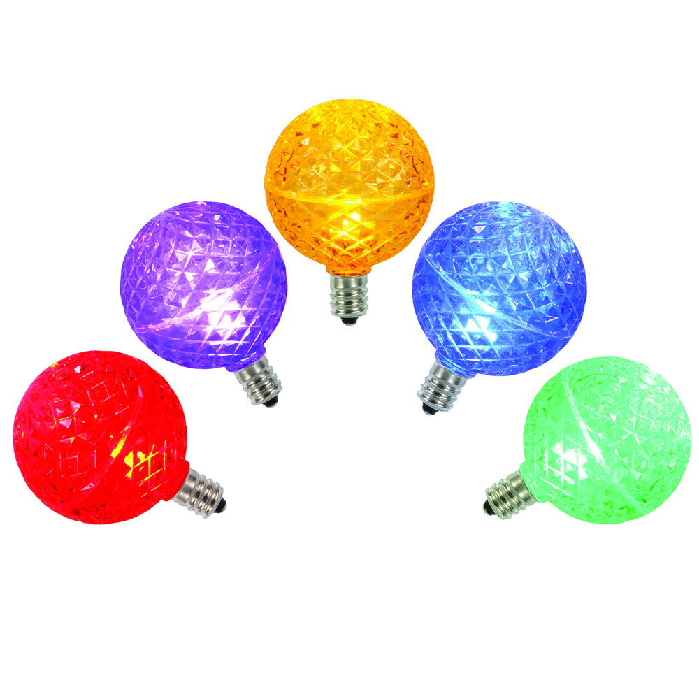 5 LED G50 Globe Multi Color Faceted Retrofit C9 Socket Christmas Replacement Bulbs