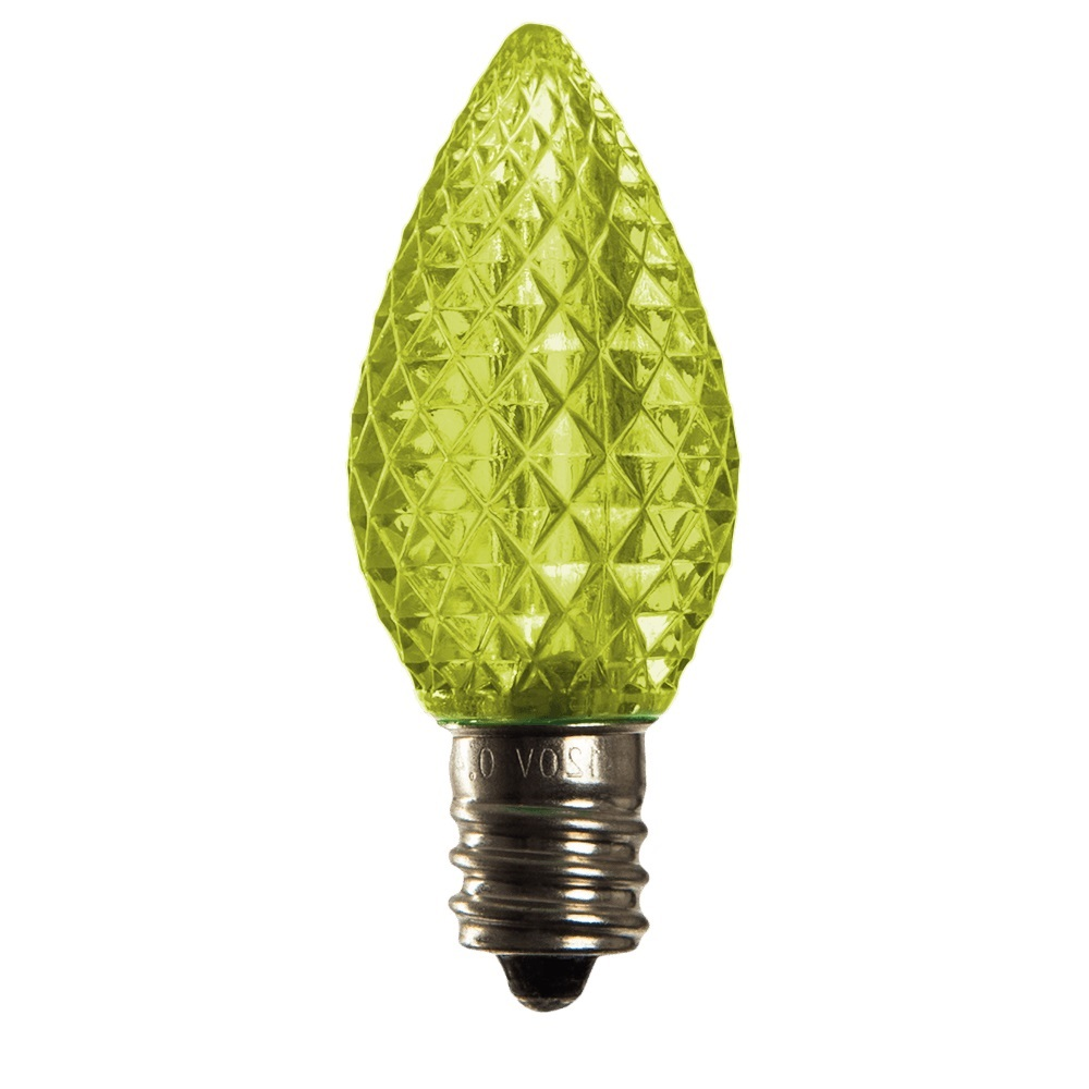 25 LED C7 Lime Green Faceted Retrofit Night Light Halloween Replacement Bulbs