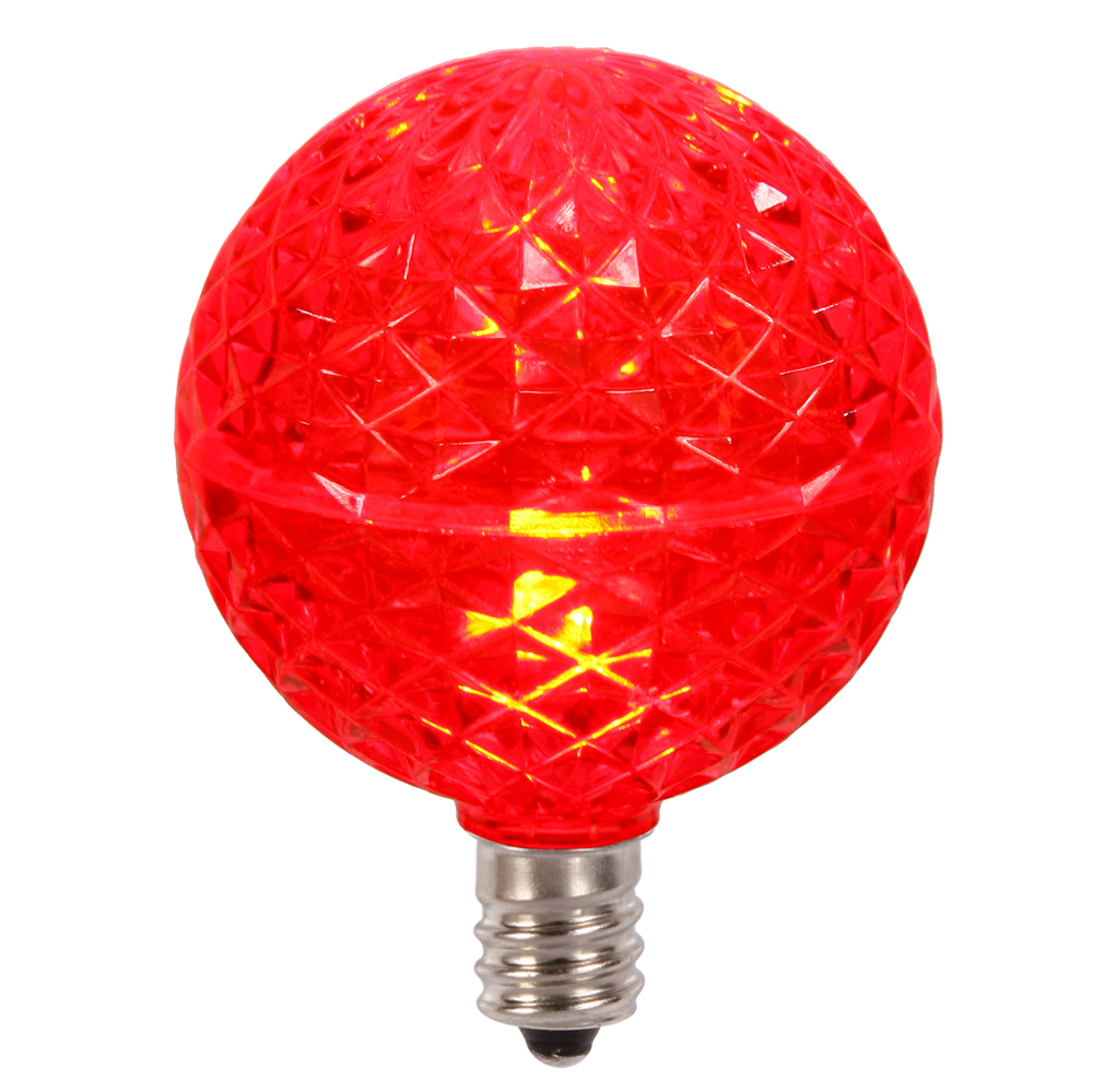 10 LED G50 Globe Red Faceted Retrofit C7 E12 Socket Christmas Replacement Bulbs