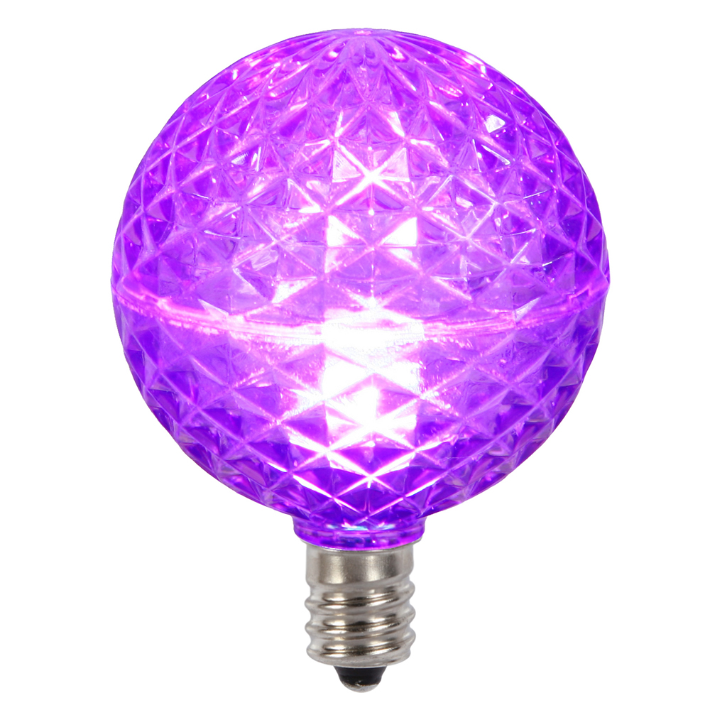 10 LED G50 Globe Purple Faceted Retrofit C7 E12 Socket Halloween Replacement Bulbs