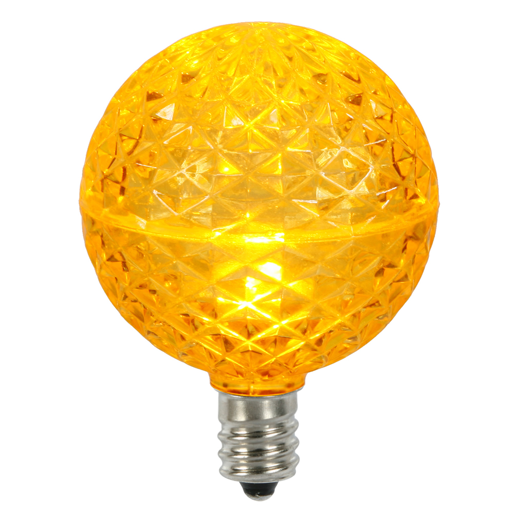 10 LED G50 Globe Yellow Faceted Retrofit C7 E12 Socket Christmas Replacement Bulbs