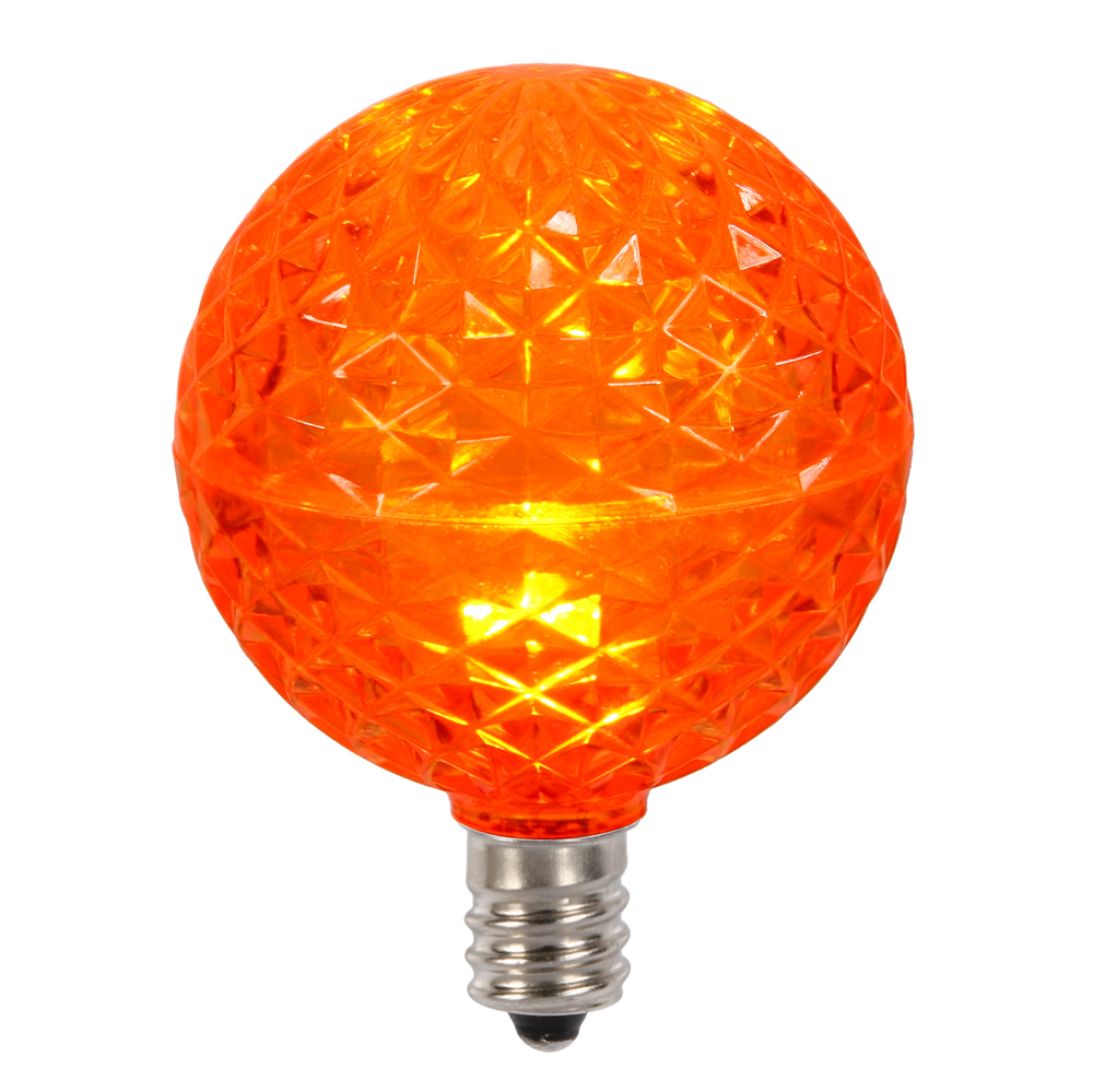 10 LED G50 Globe Orange Faceted Retrofit C7 E12 Socket Halloween Replacement Bulbs
