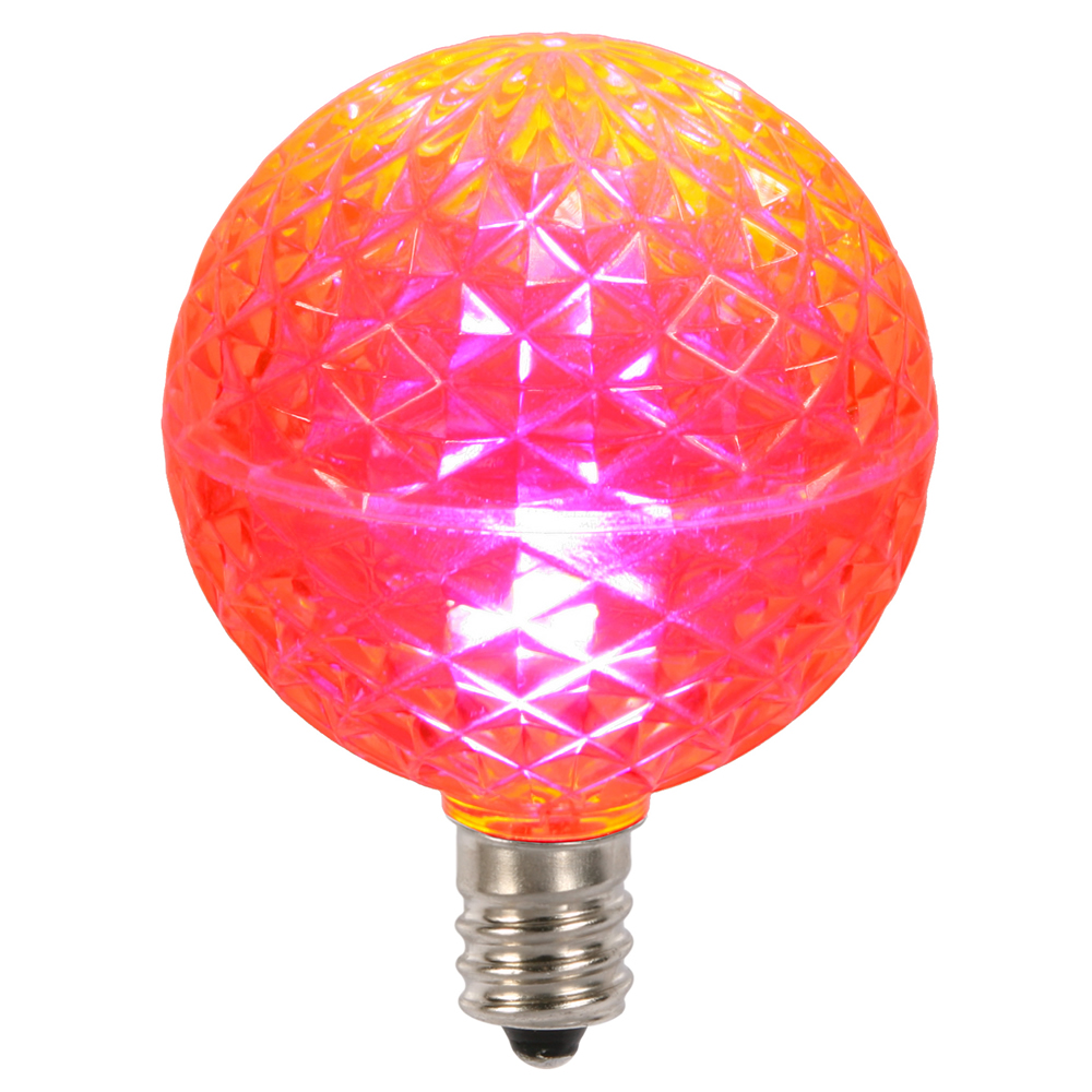 10 LED G50 Globe Pink Faceted Retrofit C7 E12 Socket Christmas Replacement Bulbs