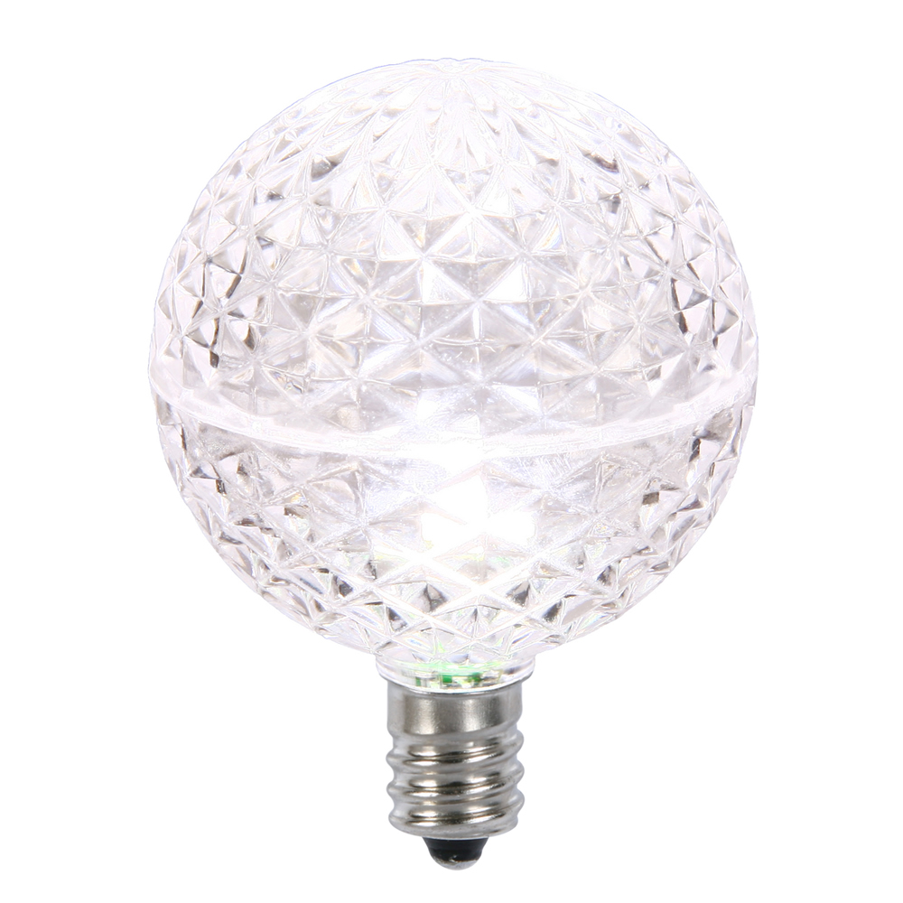 10 LED G50 Globe Pure White Faceted Retrofit C7 E12 Socket Christmas Replacement Bulbs