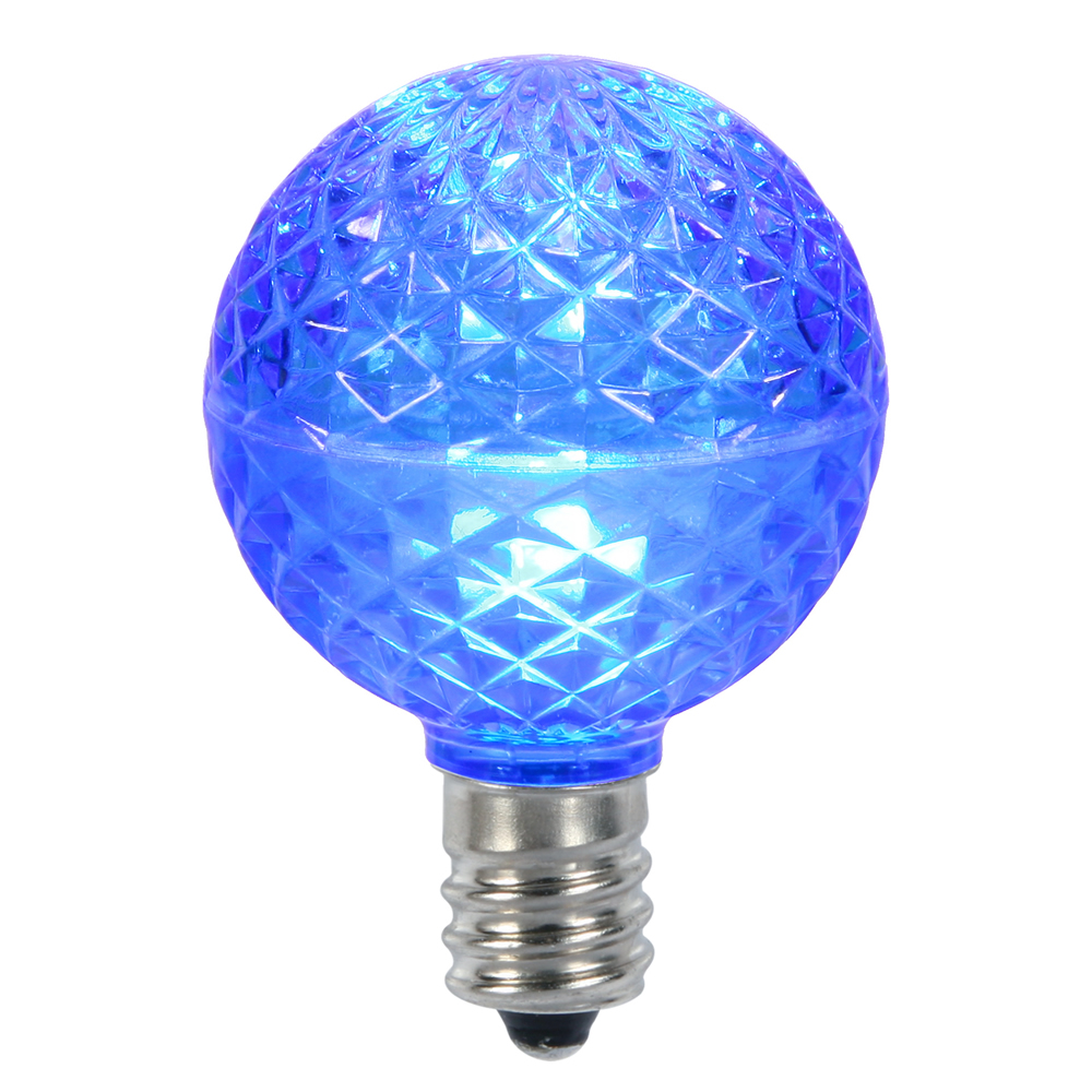 10 LED G50 Globe Blue Faceted Retrofit C9 E17 Socket Christmas Replacement Bulbs