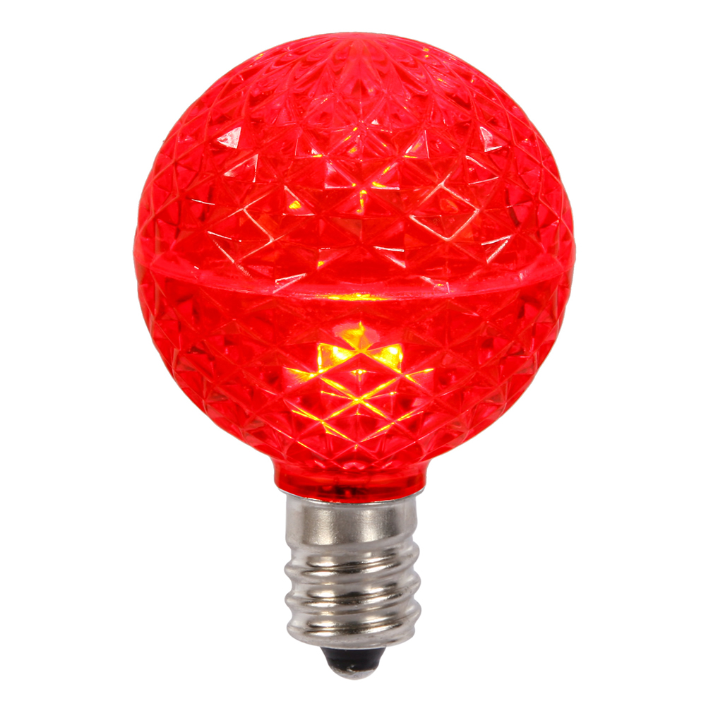 10 LED G50 Globe Red Faceted Retrofit E17 Socket Christmas Replacement Bulbs