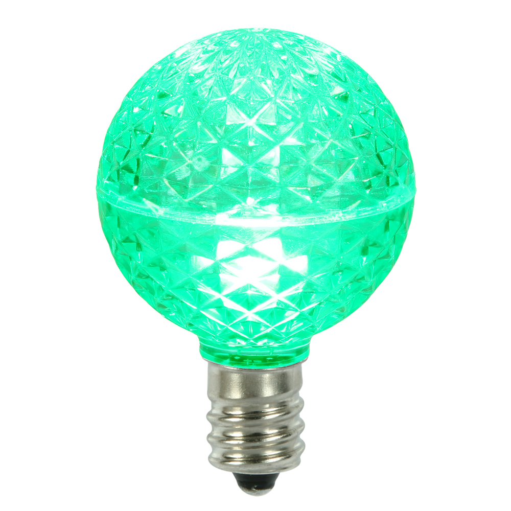 10 LED G50 Globe Green Faceted Retrofit C9 E17 Socket Christmas Replacement Bulbs
