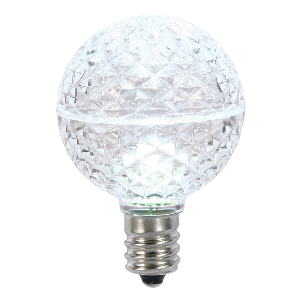 10 LED G50 Globe Cool White Faceted Retrofit C9 E17 Socket Christmas Replacement Bulbs
