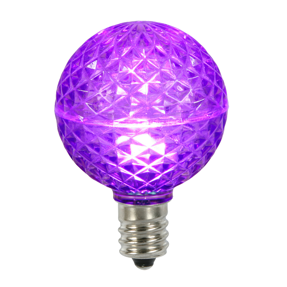 10 LED G50 Globe Purple Faceted Retrofit C9 E17 Socket Halloween Replacement Bulbs