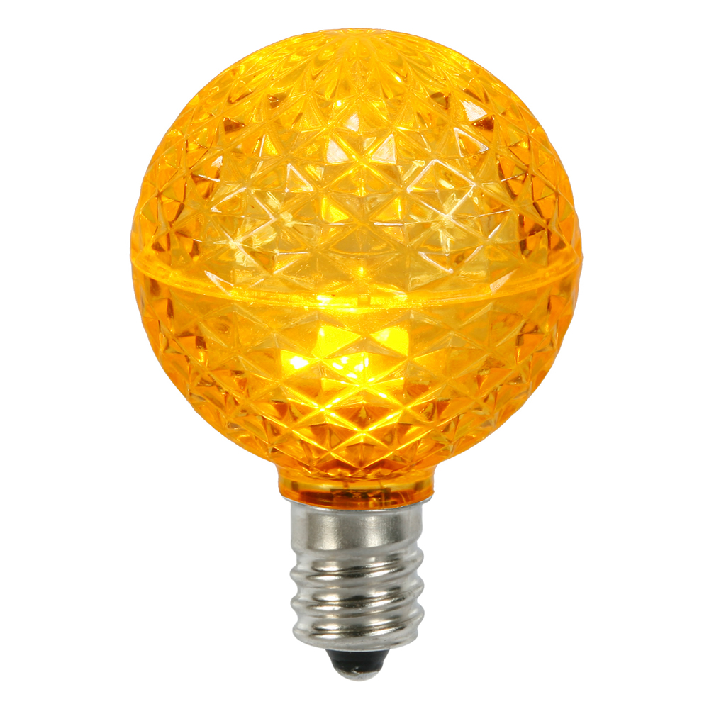 10 LED G50 Globe Yellow Faceted Retrofit C9 E17 Socket Christmas Replacement Bulbs