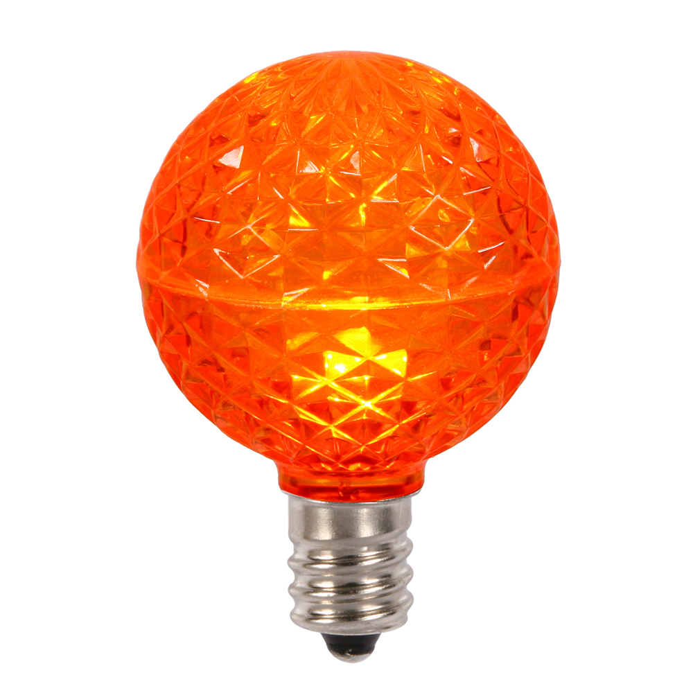 10 LED G50 Globe Orange Faceted Retrofit C9 E17 Socket Halloween Replacement Bulbs