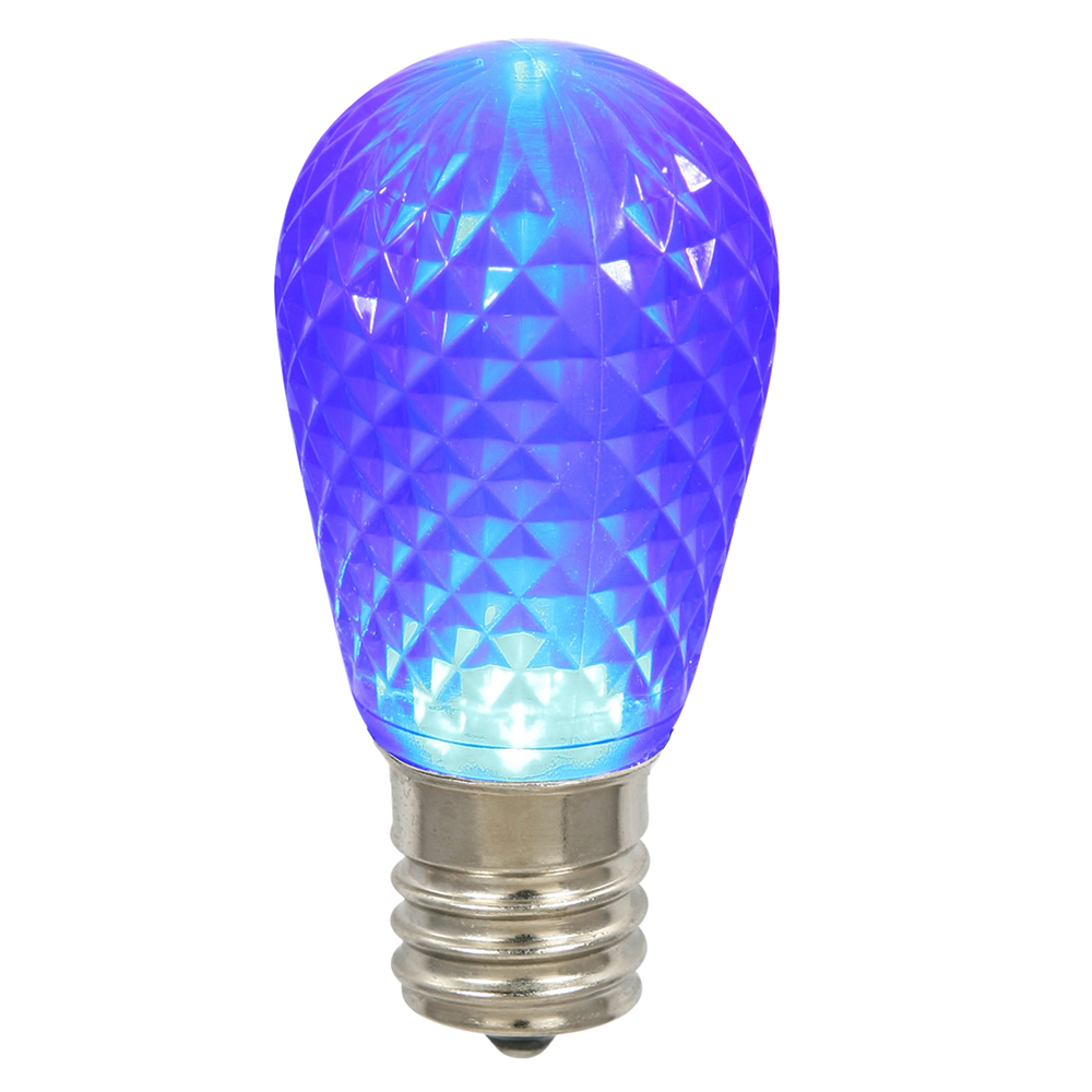 10 LED S14 Patio Faceted Blue Retrofit Replacement Bulbs