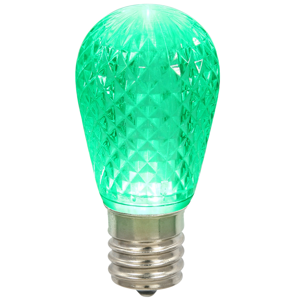 10 LED S14 Patio Faceted Green Retrofit Christmas Replacement Bulbs