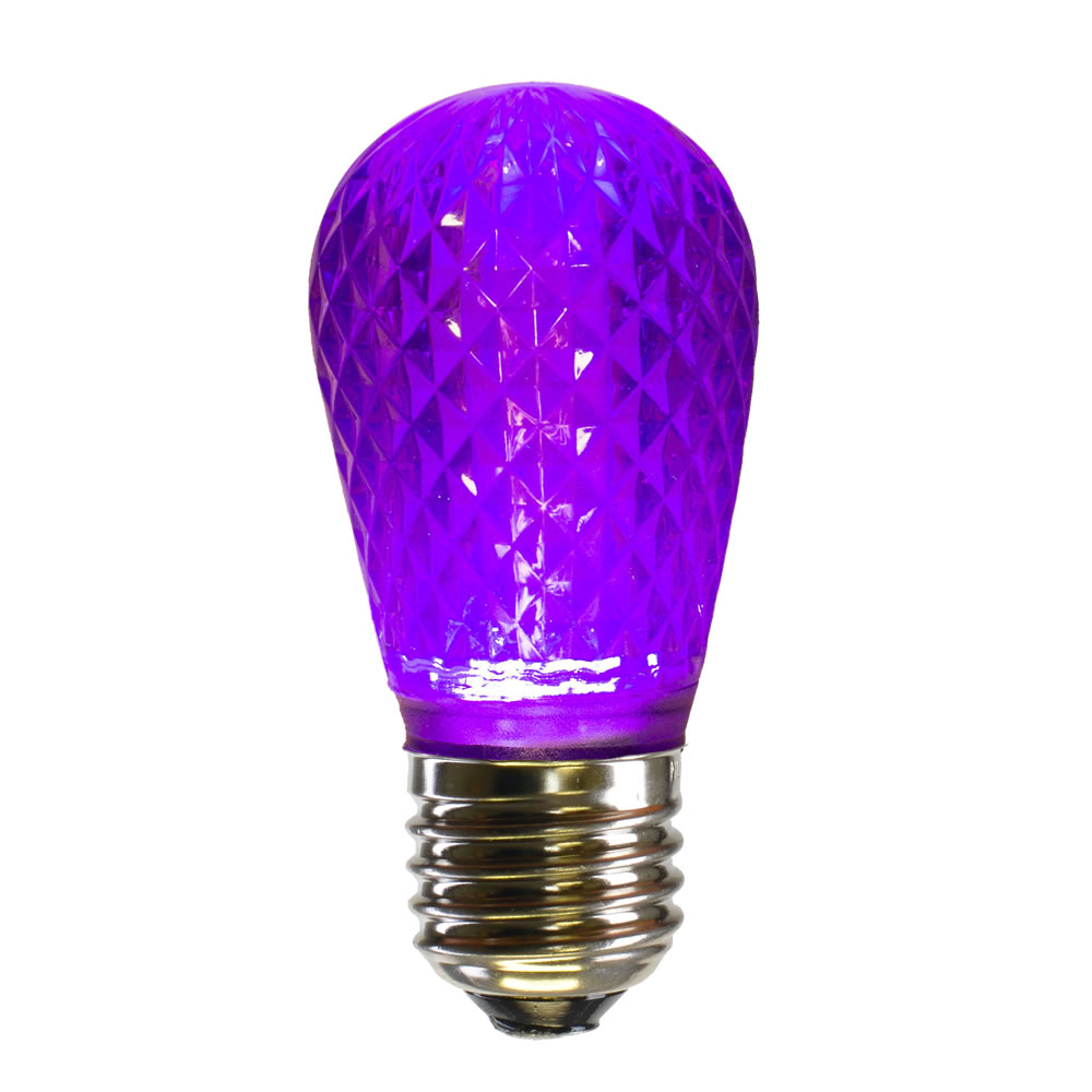 10 LED S14 Patio Faceted Purple Retrofit Halloween Replacement Bulbs