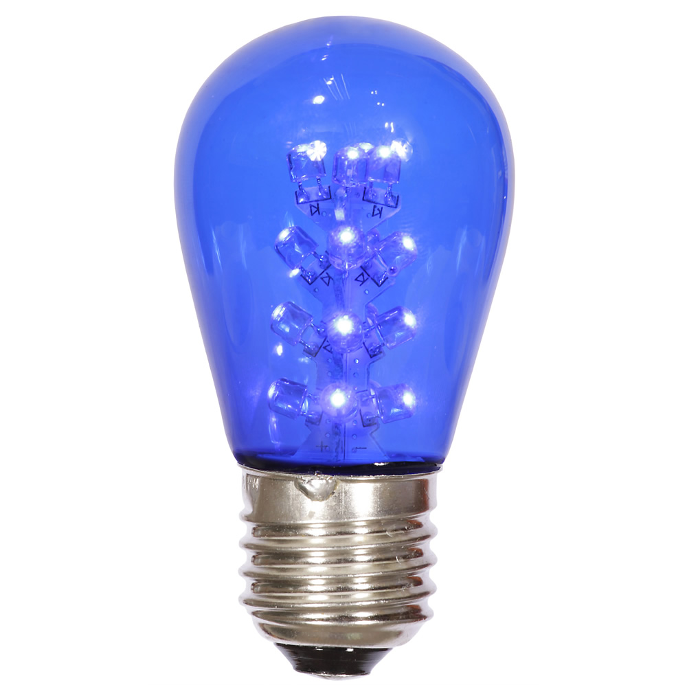 25 LED S14 Patio Transparent Blue Plastic Retrofit Replacement Bulbs