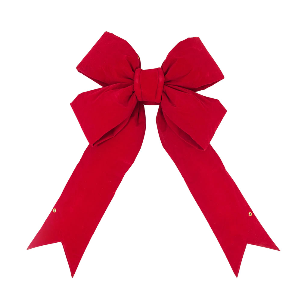 30 Inch Red Velvet Four Loop Structural Outdoor Christmas Bow