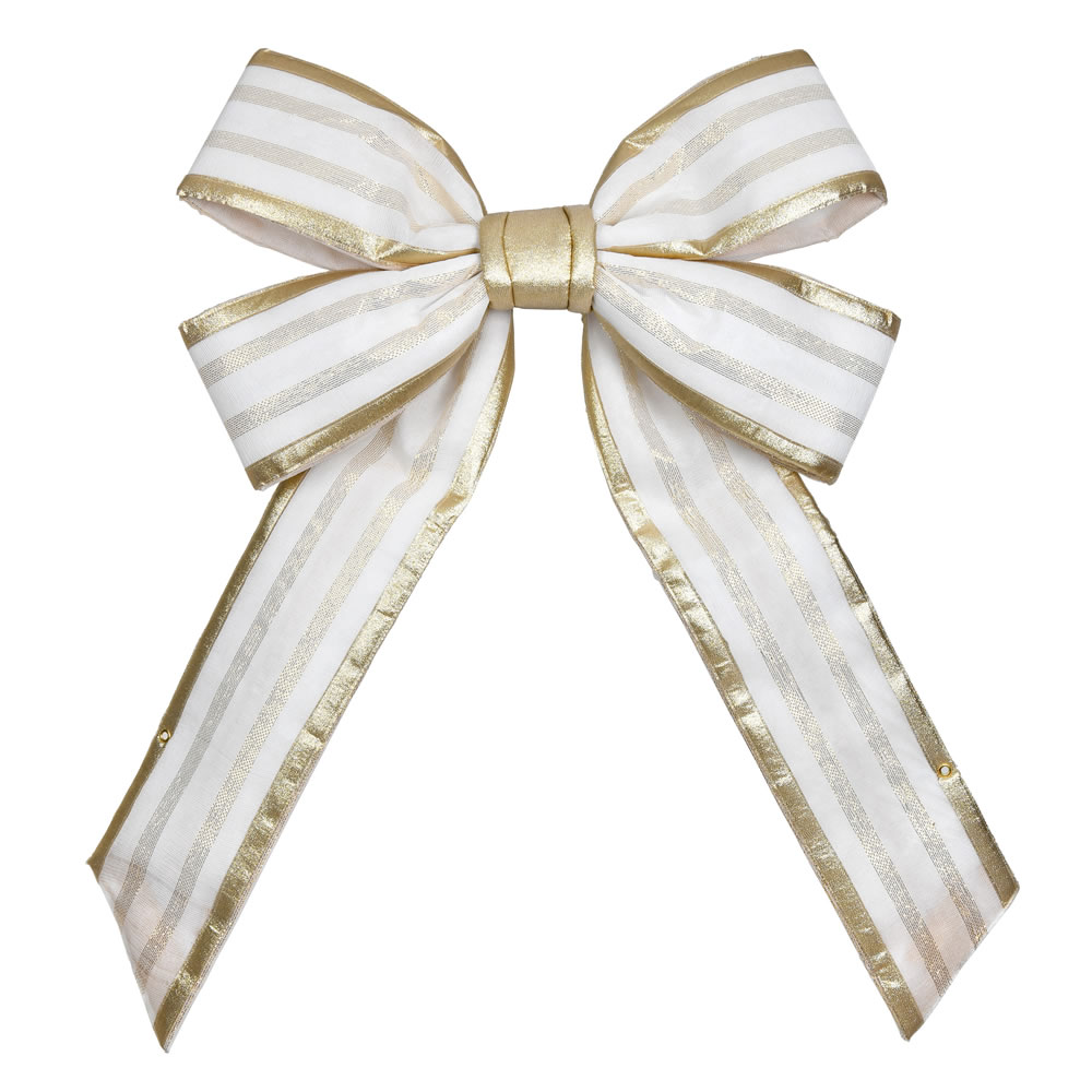 12 Inch Champagne Four Loop Fabric Indoor Outdoor Christmas Bow