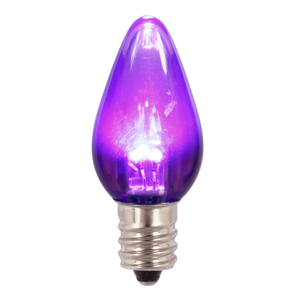 25 C7 LED Purple Transparent Retrofit C7 E12 Socket Halloween Night Light Replacement Bulbs