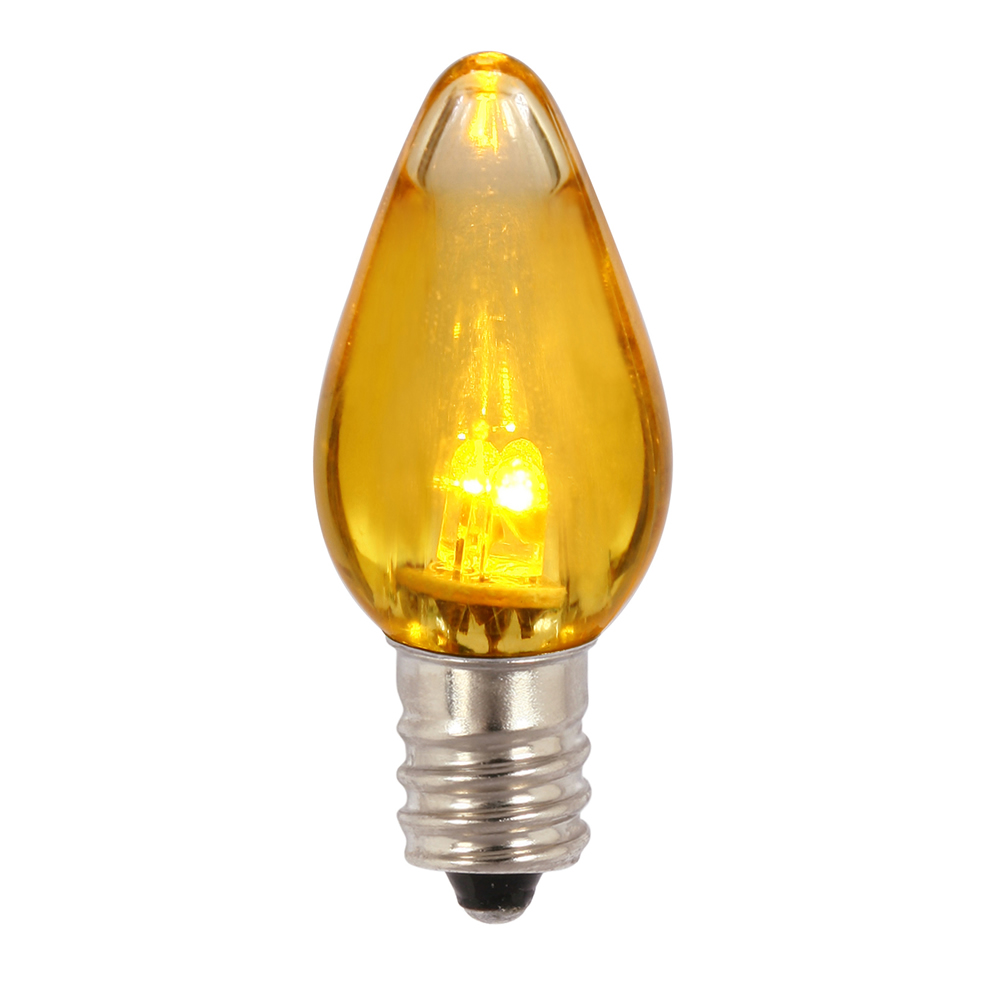 25 C7 LED Yellow Transparent Retrofit C7 E12 Socket Christmas Night Light Replacement Bulbs