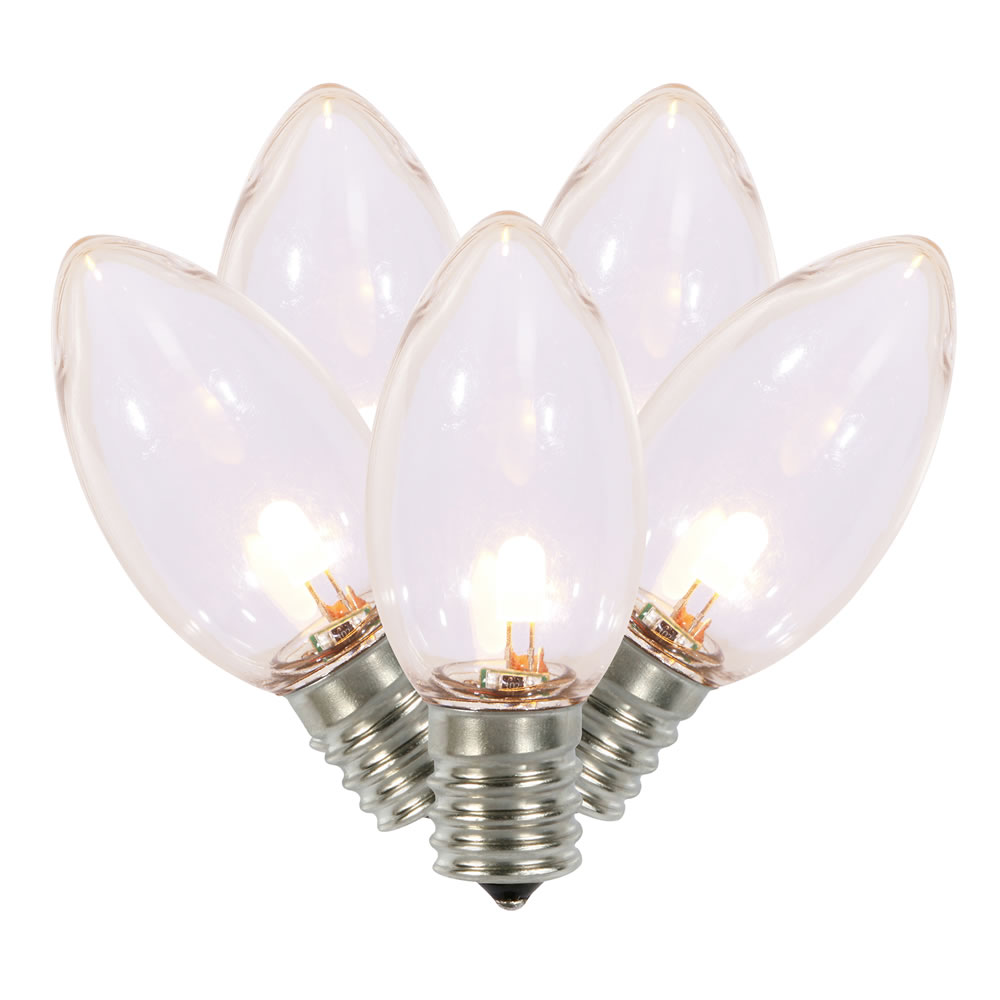 C9 Warm White Transparent LED Bulb 25 Replacement Bulbs