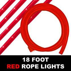18 Foot Red Rope Lights 216 Lights Box of 6