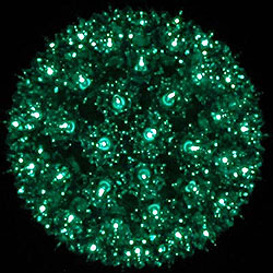 7 Inch Outdoor Lighted Sphere 100 Green Lights Box of 3