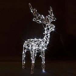 48 Inch Iridescent Standing Reindeer - 70 LED Warm White Light
