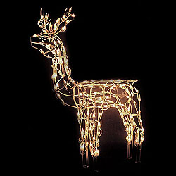 48 Inch Animated Standing Buck Sculpture - 150 Clear Lights