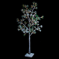 6 Foot Snowy Pine Tree 120 LED Warm White Lights