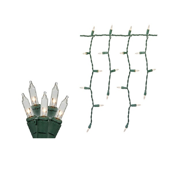 100 Clear Icicle Lights Green Wire Box of 6