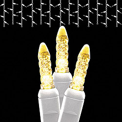 50 LED M5 Warm White Icicle Lights White Wire Box of 6