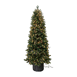 6 Foot Green Spruce Artificial Christmas Tree 300 Clear Lights