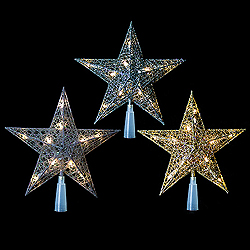9 Inch LED Star Tree Top 10 LED lights Assorted Colors Box of 6