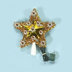 9 Inch Gold And Silver Star Treetop 11 Clear Lights Box of 12 Assorted