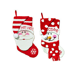 18.5 Inch Santa And Snowman Stockings Set Of 2