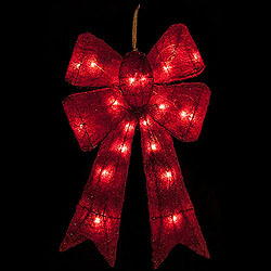 24 Inch 4 Loop Red Glittered Bow 20 Lights Box of 2